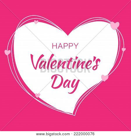 Valentines Day card design. Heart Pink silhouette from scribble lines and hand drawn lettering isolated on white background with pink hearts. Valentine's Day EPS10. Wedding love vector  Illustration.