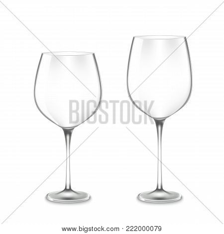 Vector realistic empty Wine Glasses isolated on white background. Vector illustration of 2 Wine Glasses, widen and narrow.