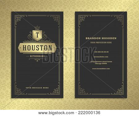 Luxury business card and golden vintage ornament logo vector template. Retro elegant flourishes ornamental frame design and pattern background.