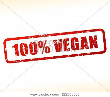Illustration of vegan text buffered on white background