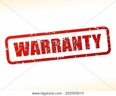 Illustration of warranty text buffered on white background