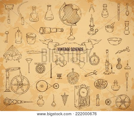 Vintage science objects set in steampunk style. Scientific equipment for physics, chemistry, geography, pharmacy on aged paper background . Isolated elements. Vector illustration