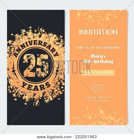 25 years anniversary invitation to celebration event vector illustration. Design element with gold color number and text for 25th birthday card, party invite