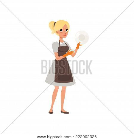 Young woman washing plate with sponge. Cartoon character of blond girl. Maid in uniform with orange rubber gloves and brown apron. Cleaning service. Professional at work. Isolated flat vector design.
