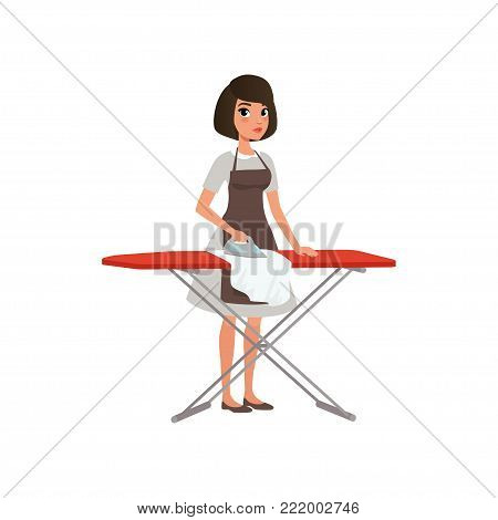 Brunette woman ironing clothes on an ironing board. Domestic worker. Maid service concept. Cartoon young girl in gray dress and brown apron. Flat vector illustration isolated on white background.