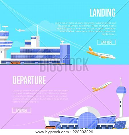 Aircraft landing and airport departure flyers. Travel agency advertising, commercial airline set. International passenger air terminal with flight control tower and plane arrival vector illustration.