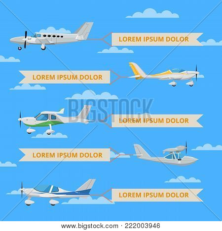 Propeller airplanes with banners in sky. Private propeller aircraft, passenger plane, hydroplane, speedy sport aeroplane, flying boat. Side view screw aircraft, small aviation vector illustration.