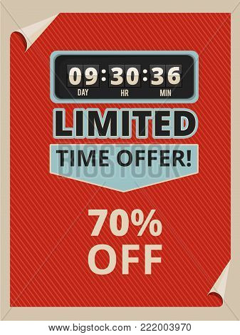 Advertise poster with countdown clock and some text about sales. Vintage pictures in vector style. Promotion sale and time countdown illustration