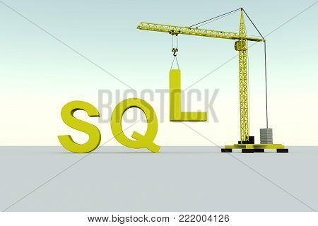 SQL building concept crane white background 3d illustration