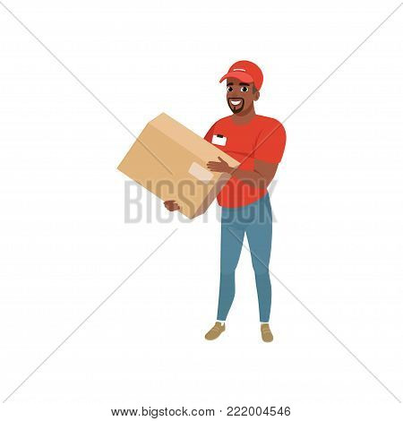 Bearded afro-american man delivering package. Cartoon courier character dressed in red t-shirt, cap and blue jeans. Concept of delivery service. Flat vector illustration isolated on white background.
