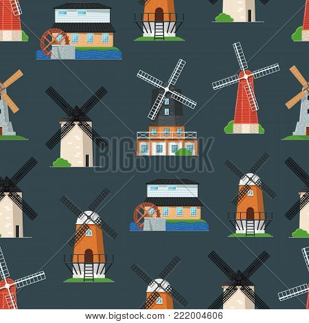 Seamless pattern with traditional old windmill buildings. Rural bakery shop, organic agricultural production, ecological food manufacturing concept. Medieval european windmill vector illustration.
