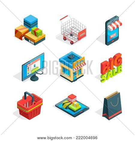 Isometric icon set of online shopping. Symbols of ecommerce. Buying in internet isometric trolley and smart phone, vector illustration