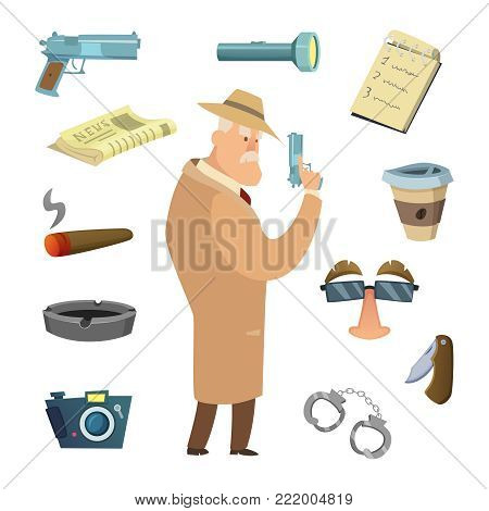 Different tools for detective. Vector icons in cartoon style. Detective criminal, investigation and spy agent illustration