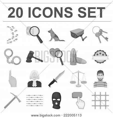 Prison and the criminalmonochrome icons in set collection for design.Prison and Attributes vector symbol stock  illustration.