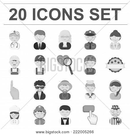 People of different professions monochrome icons in set collection for design. Worker and specialist vector symbol stock  illustration.