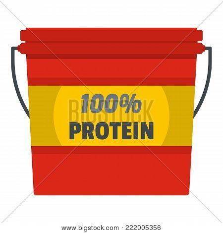 Protein bucket icon. Flat illustration of protein bucket vector icon for web.