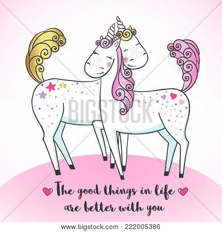 Greeting card with Cute magic Unicorns falling in love. Valentine's postcard. Love concept. Vector illustration.