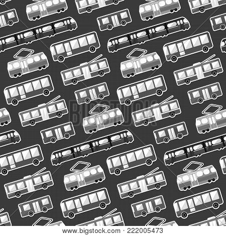 Monochrome cartoon flat city transport seamless pattern. Cute kids texture with bus, tram, trolley and underground for textile, wrapping paper, wallpaper, cover, package, background