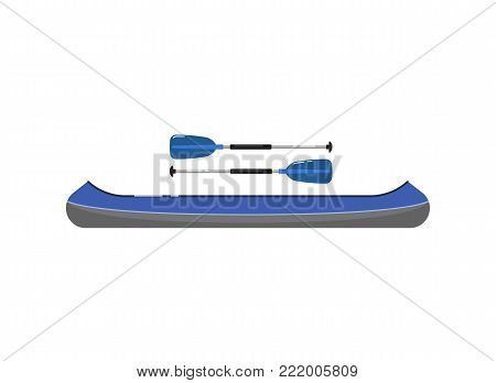Canoe with paddle isolated on white icon. Rafting, kayaking, paddling and canoeing activity. Extreme water sport, adventure by boat vector illustration