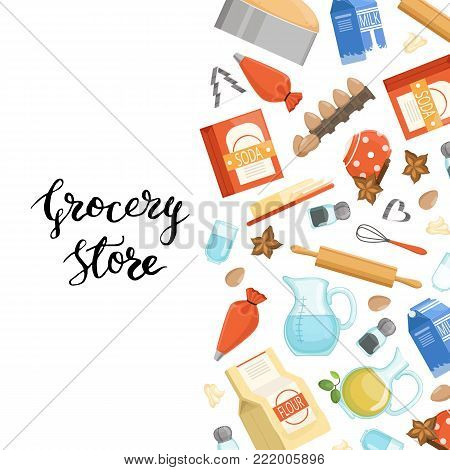 Vector cartoon cooking ingridients or groceries background illustration with lettering. Poster assortment soda and grocery nutritious