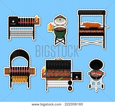 Different types barbecue grills isolated labels set. Charcoal and gas grills with assorted delicious grilled meat vector illustration. BBQ party, traditional cooking food, restaurant menu elements.