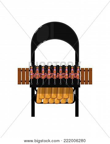 Barbecue grill with grilled kebabs isolated icon. Outdoor cooking equipment with assorted delicious food vector illustration. BBQ restaurant menu elements.