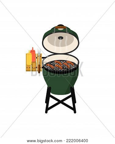 Charcoal barbecue grill with grilled sausages isolated icon. Outdoor cooking equipment with assorted delicious food vector illustration. BBQ restaurant menu elements.