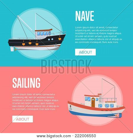 Fish business flyers with fishing trawlers. Vintage marine flotilla of ships, sea or ocean nautical transportation. Commercial small boats for industrial seafood production vector illustration.