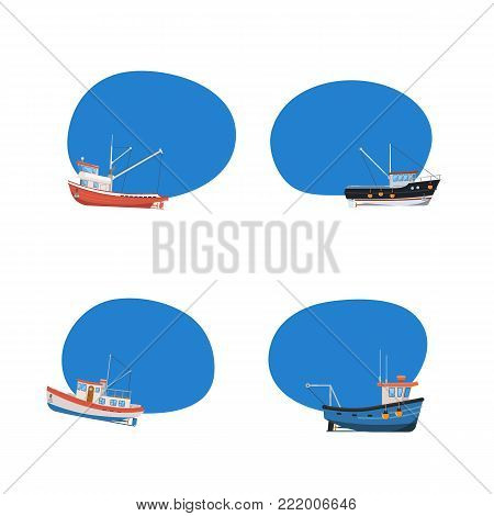 Vintage fishing boats isolated icons set. Commercial fishing trawlers for industrial seafood production vector illustration. Marine fleet of small ships, sea or ocean transportation tag collection.
