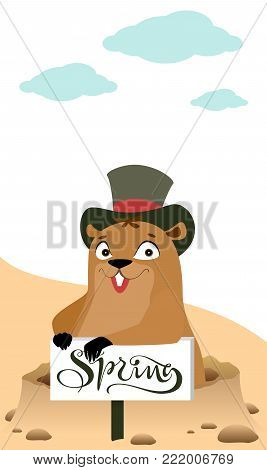 Groundhog Day. Marmot makes forecast early spring. Vector cartoon illustration