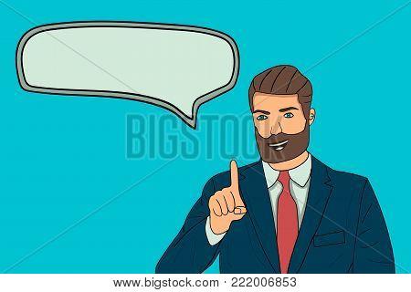A businessman speaks a speech, an advertisement or a report