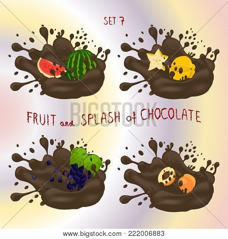 Vector for fruit watermelon, grape, apricot, carambola, splash of drop brown chocolate. Apricot pattern of splashes drip flow Chocolate. Eat fruits watermelons,grapes,apricots,carambolas in chocolates