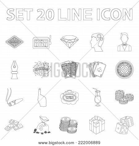 Casino and gambling outline icons in set collection for design. Casino and equipment vector symbol stock  illustration.