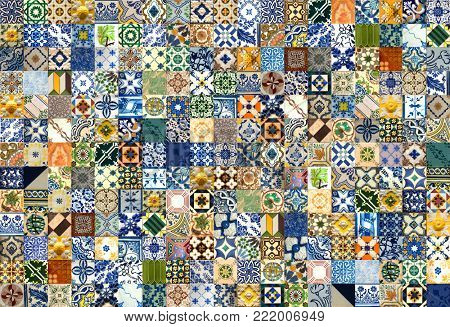 247 colorful ceramic tiles pattern from Lisbon, Portugal
