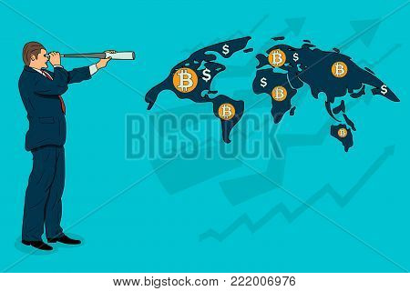 Businessman looks at the growth of bitcoin on the world map