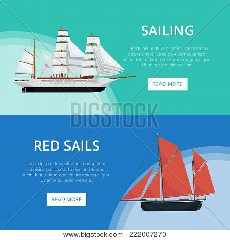 Sailing poster with old nautical sailboats. Vintage marine cruise ship, passenger vessel transportation vector illustration. Outdoor yachting and sea traveling, worldwide ocean regatta race.