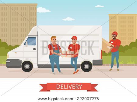 Man with mustache giving parcel to young courier. Delivery service car. Workers in red uniform. Cartoon male characters. Green park and city landscape on background. Colorful flat vector illustration.