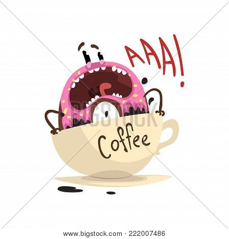 Frightened donut drowning in cup of coffee. Cartoon character of doughnut with vanilla glaze and sprinkles. Flat design for cafe poster, print or sticker. Funny vector illustration isolated on white.