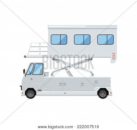 Passenger lift truck for plane boarding isolated on white icon. Airport ground technics, aviation terminal logistics and infrastructure equipment vector illustration.