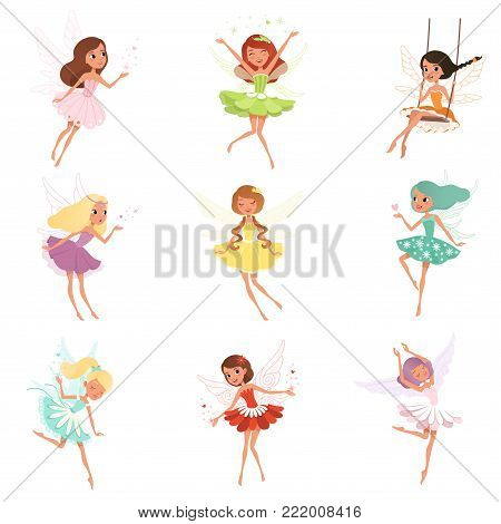 Collection of little fairies. Magical creatures from fairy tale. Cartoon girls characters with colorful hair and wings. Design for kids book, sticker, print or postcard. Isolated vector illustration.