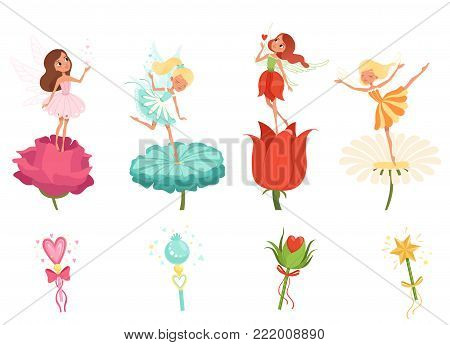Set of little fairies hovering over beautiful flowers. Cartoon girls characters dressed in colorful dresses. Cute magical creatures with wings. Magic wands. Flat vector illustration isolated on white.