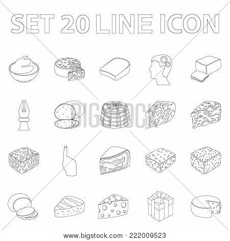 Different kind of cheese outline icons in set collection for design.Milk product cheese vector symbol stock  illustration.