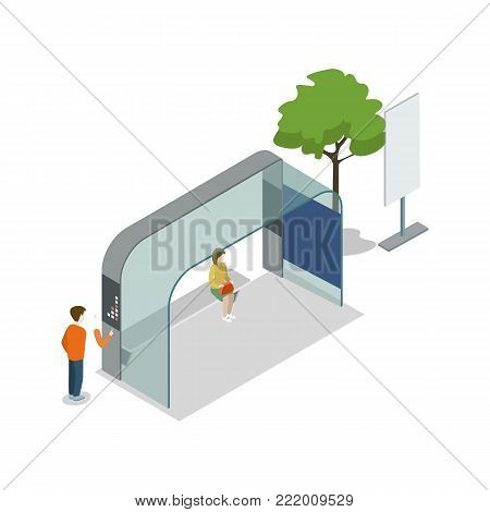 Street waiting station isometric 3D icon. City public transportation, downtown transport stop, urban and countryside traffic vector illustration.
