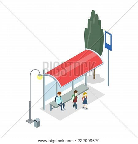 City transport stop isometric 3D icon. Public transportation, modern town waiting station, urban and countryside traffic vector illustration.