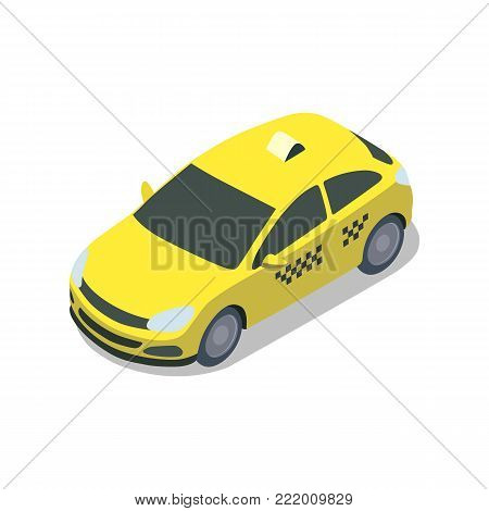Yellow taxi cab isolated isometric 3D icon. City public transport, town vehicle, urban and countryside traffic vector illustration.