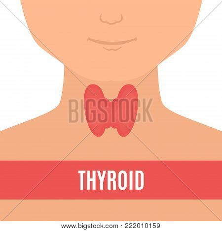 Thyroid gland on a silhouette of a man. Body anatomy sign. Human endocrine system. Medical internal organ vector illustration.