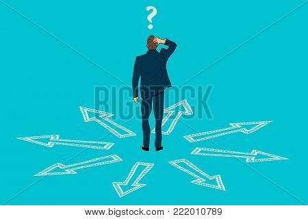 A businessman doubts which way to choose. painted character