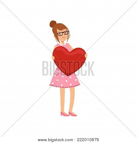 Pretty teen girl holding red heart, Happy Valentines Day concept, love and relationships vector Illustration on a white background