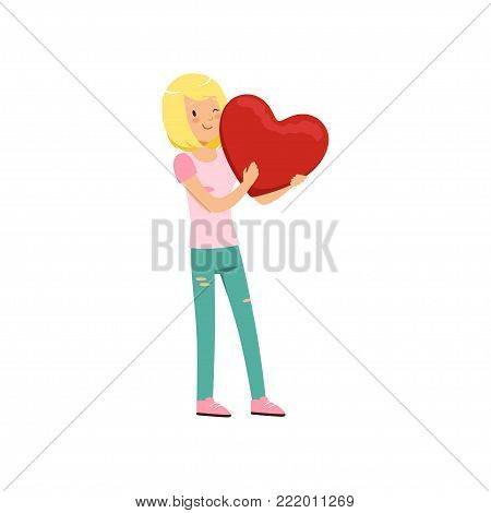 Pretty blonde teen girl holding red heart, Happy Valentines Day concept, love and relationships vector Illustration on a white background