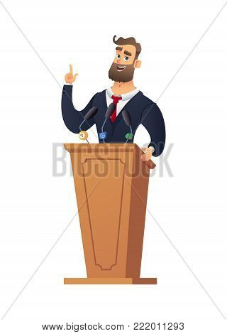 The peasant man speaking from the rostrum. Businessman or speaker speech. Rector in the classroom.